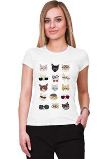 Camiseta Criativa Urbana Gatos Branca - Kanui