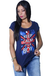 Camiseta Heide Ribeiro Keep Calm It'S A Boy Marinho