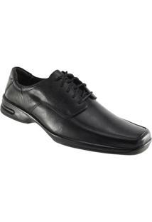 Sapato Social Trilhos Cadarço. - Masculino-Preto