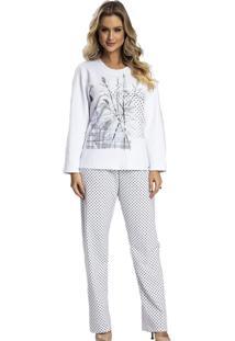Pijama Recco Moletinho Flanelado Branco