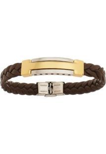 Bracelete De Aço Inox Tudo Joias Gold Com 12Mm De Largura - Unissex-Marrom