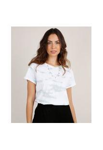 Blusa Feminina Ampla Estampada Tie Dye Manga Curta Decote Redondo Branca