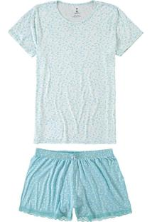Pijama Azul Floral Com Renda