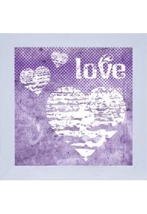 Quadro Decorativo Love - Roxo & Branco- 29X29Cm-Kapos