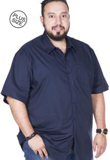 Camisa Plus Size Bigshirts Manga Curta Lisa Azul Marinho