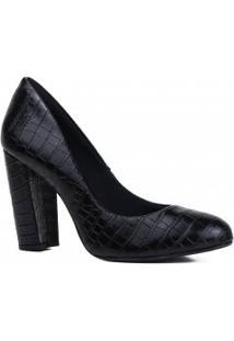 Sapato De Noivas Zariff Scarpin Salto Grosso Em Croco