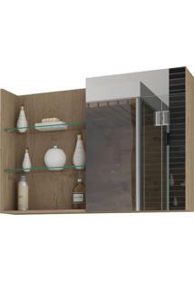 Espelheira Para Banheiro Com 1 Porta E 3 Prateleiras 80Cm Jasmin-Mgm - Carvalho