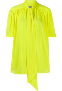 Balenciaga Blusa Mangas Curtas Com Laço - Amarelo