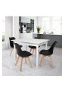 Conjunto Mesa De Jantar Robust 110X90 Branca Com 4 Cadeiras Eames Wood Leda - Preta