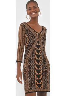 Vestido Seda Desigual Curto Estampado Bege/Preto