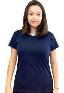 Camiseta Baby Look Teese Feminina - Feminino-Azul Escuro