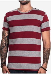 Camiseta Listrada Vermelha Botão Lateral 101660