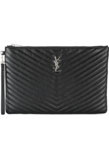 Saint Laurent Clutch Grande Couro - Preto