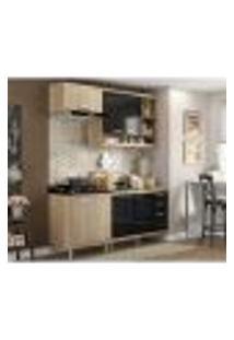 Cozinha Compacta Completa Multimóveis Com 4 Peças Sicília 5810 Argila/Preto