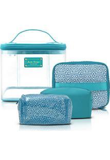Kit Necessaire 3 Em 1 Geométrica Jacki Design Poliéster + Pvc - Feminino-Azul Turquesa