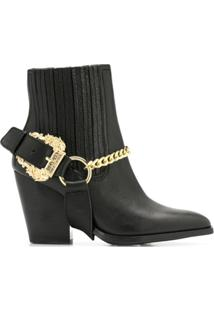 Versace Jeans Couture Chain Embellished Ankle Boots - Preto