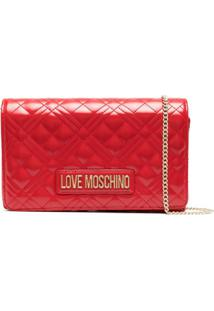 Love Moschino Diamond-Quilted Cross Body Bag - Vermelho