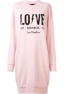 Love Moschino Slogan Print Sweatshirt Dress - Rosa