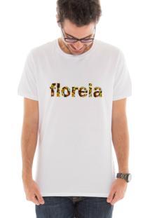 Camiseta Manga Curta Touts Flores Brown Branco