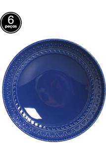Jogo De Pratos Fundos 6 Pçs Greek Azul Navy Porto Brasil
