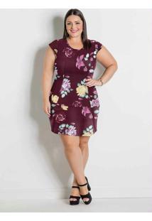 Vestido Floral Bordô Com Babado Plus Size