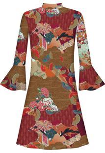 Vestido Gola Alta Manga 3/4 Arte Japosesa - Lez A Lez