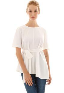 Blusa Aha Assimétrica Com Laço Off- White