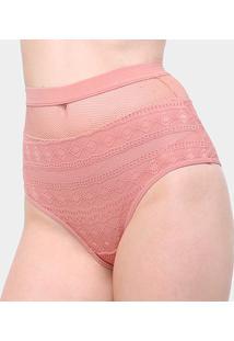 Calcinha Colcci Hot Pants Tela Cintura Alta Feminina - Feminino-Laranja