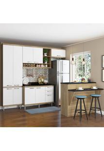 Cozinha Compacta 11 Portas 3 Gavetas Com Tampo E Bancada 5846 Branco/Argila - Multimóveis