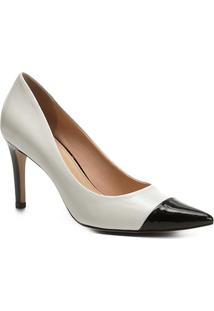 Scarpin Couro Shoestock Salto Alto Com Biqueira - Feminino-Branco