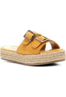 Sandália Shoestock Flatform Camurça Fivelas Feminina - Feminino-Mostarda