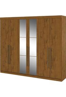 Guarda Roupa Castellaro 6 Portas Com Espelhos Rovere Naturale