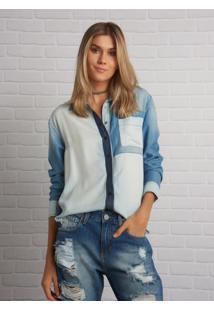 Camisa John John Patchwork Azul Feminina (Jeans Medio, Gg)