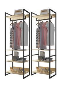 Kit 2 Guarda Roupas Closet Indy 4 Prateleiras F02 Nature Texturizado -