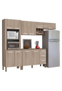 Cozinha Modulada Ametista 5 Módulos Composiçáo 5 Nogal - Kit'S Paraná