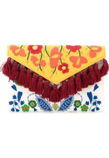 Carolina Herrera Clutch Com Tassel E Bordado Floral - Branco