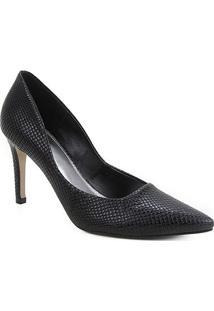 Scarpin Couro Shoestock Salto Alto Cobra - Feminino-Preto