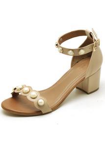 Sandalia Feminina Top Franca Shoes Salto Alto Grosso Pedras Nude