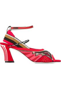 Fendi Sandália Com Mesh - Vermelho