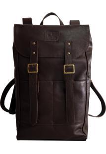 Mochila Line Store Leather Adventure Couro Marrom Escuro.