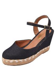 Sandália Uzze Sapatos Salto Anabela Jeans