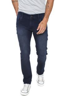 Calça Jeans Fiveblu Slim Estonada Azul-Marinho