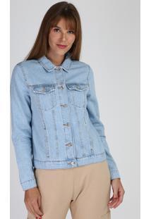"""Jaqueta Jeans Feminina Pride """"Love Wins"""" Com Bolsos E Bordados Azul Claro"""