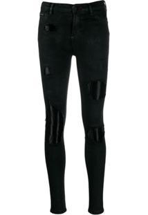 Philipp Plein Calça Jeans Skinny Destroyed - Preto