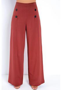 Calça Pantalona Ferrugem Com Botões E Pregas