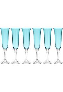 Jogo De Taças Para Champagne 6 Peças 175Ml Kleopatra Island Paradise - Bohemia - Turquesa