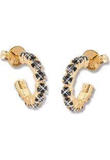 Argola Le Diamond Dourada Com Pedras De Strass Preta - Dourado - Feminino - Dafiti