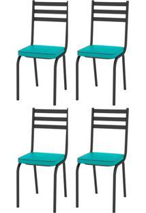 Kit 4 Cadeiras 118 Europa Preto/Azul Turquesa - Artefamol - Azul - Dafiti