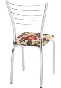 Cadeira Para Cozinha Assento Estofado 428 Unimóvel Cromado/Estampado