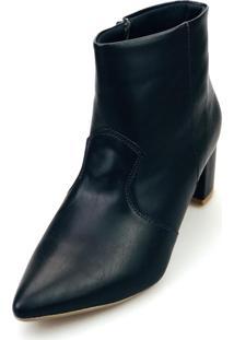 Bota Love Shoes Baixa Salto Grosso Cano Curto Bico Fino Recortes Preto